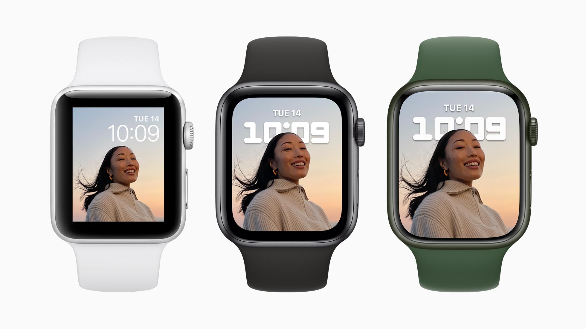 Сравнение Apple Watch Series 3, 6 и 7. Фото – Apple