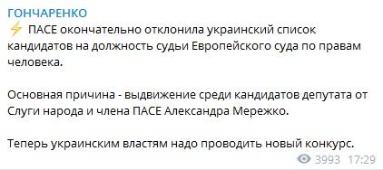 ПАСЕ окончательно отклонила список украинских кандидатов на должность судьи ЕСПЧ – нардеп