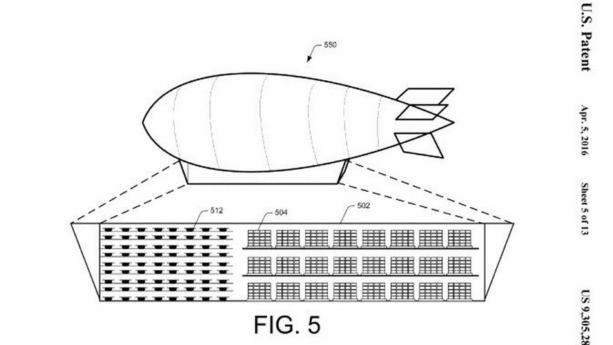 Amazon запатентовала систему доставки с дронами и дирижаблями