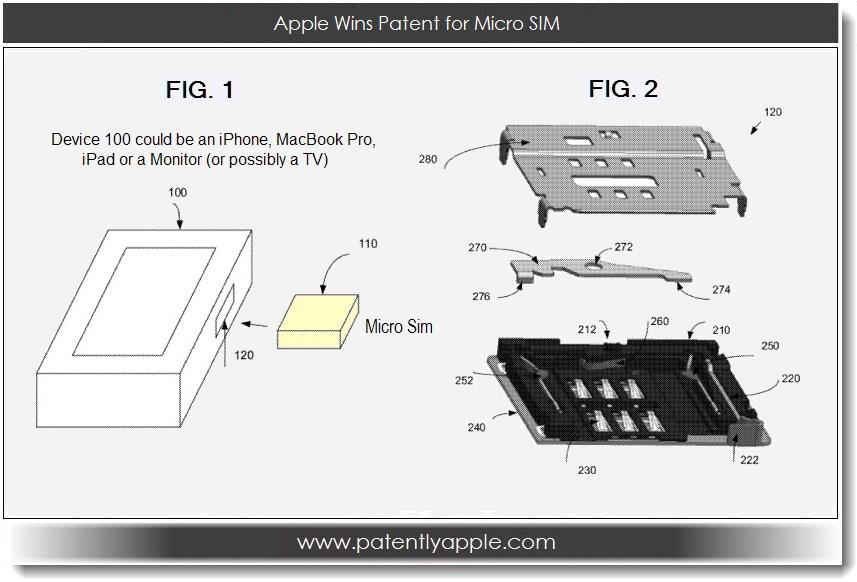 Apple получила патент на слот для micro-SIM