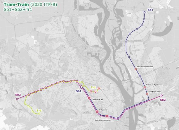 Tram-Train: КГГА опубликовала схему маршрутов скоростного трамвая