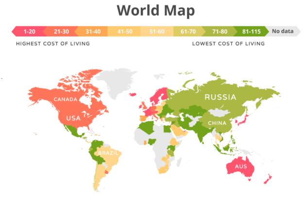 Украина вошла в тройку самых дешевых для жизни стран: инфографика