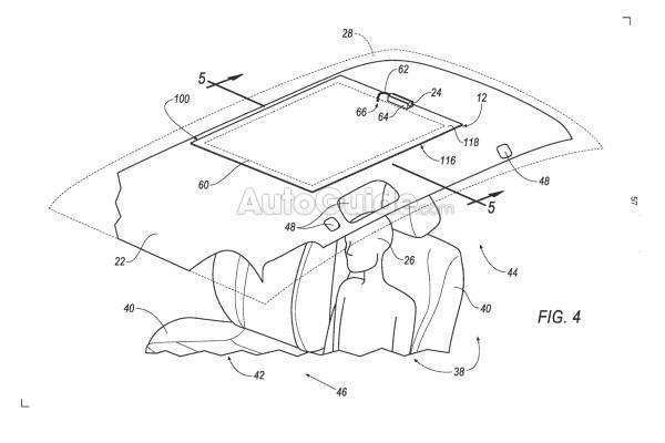 Ford запатентовал подушку безопасности на потолке: фото
