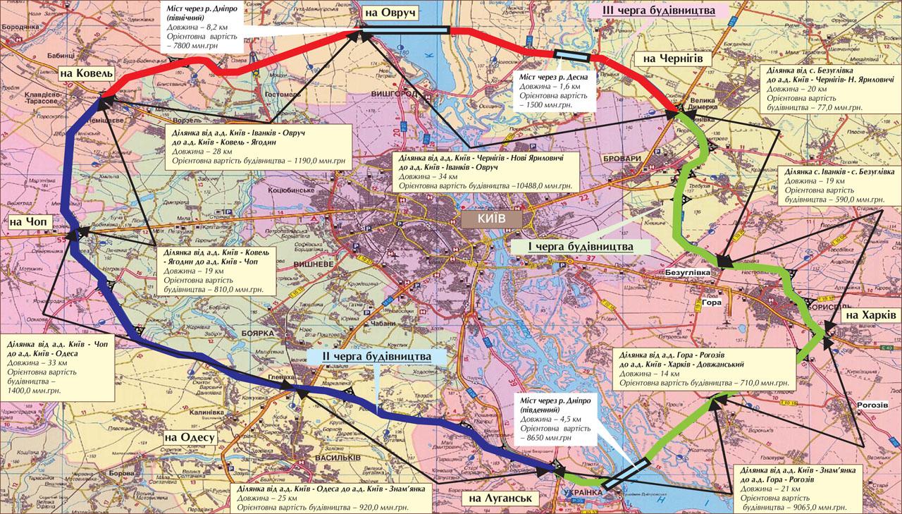 Вокруг Киева начнут строить большую кольцевую дорогу
