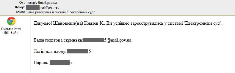 письмо-подтверждение регистрации с паролем в открытом виде