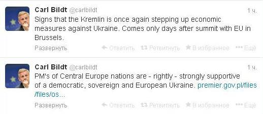 Бильдт заявил о возобновлении экономического давления РФ на Киев