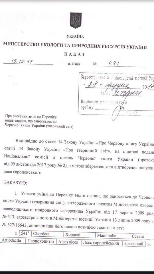 Украина внесла лося в Красную книгу: охота на него запрещена