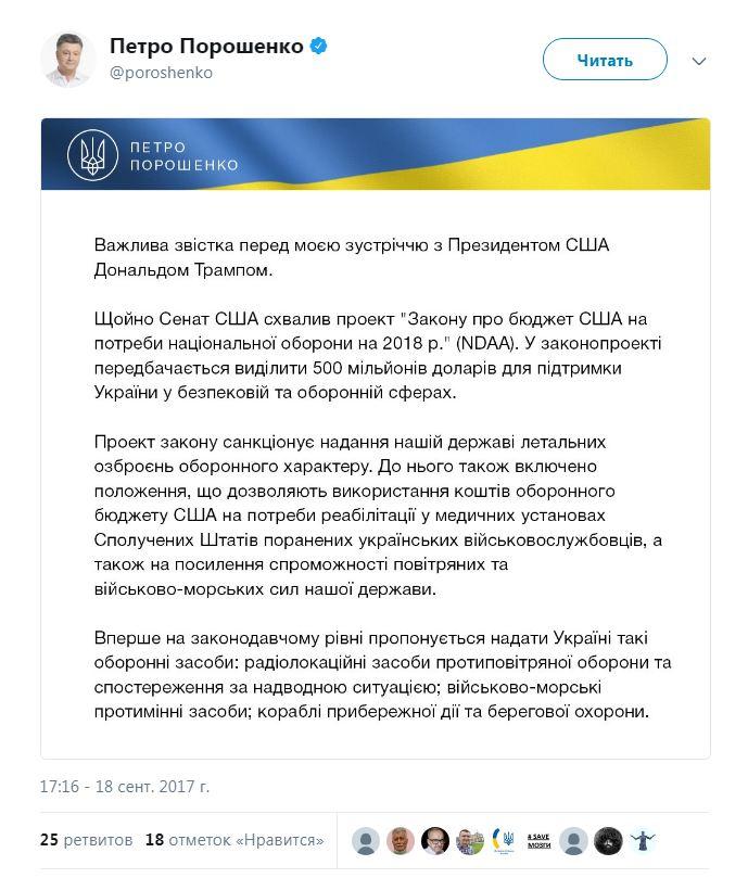 Сенат США одобрил выделение Украине $500 млн и летальное оружие