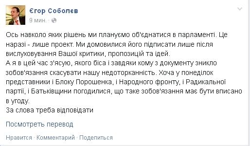 Из соглашения политсил исчез пункт о неприкосновенности - Соболев