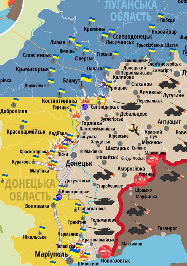 Сутки на фронте в Донбассе прошли без потерь: карта АТО
