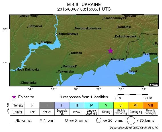 Первое запоследние 30 лет землетрясение случилось вблизи Мариуполя