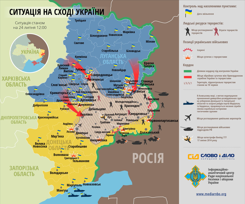 АТО за сутки: Лисичанск свободен, РФ прорывается на юг Донбасса
