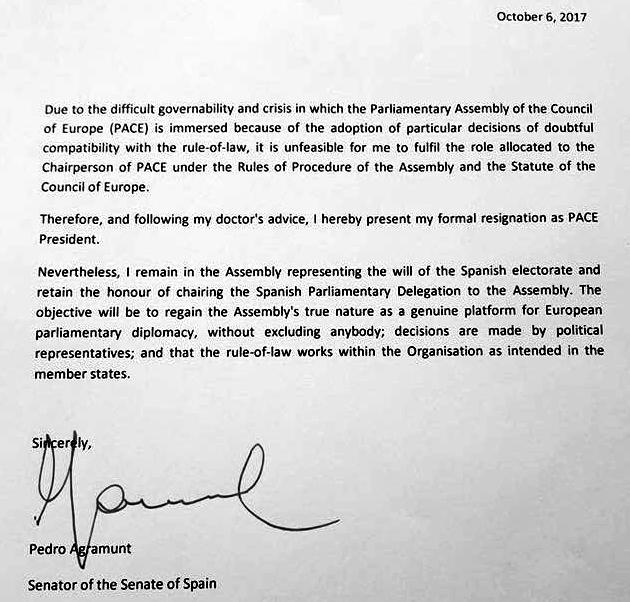 Президент ПАРЄ Аграмунт подав у відставку
