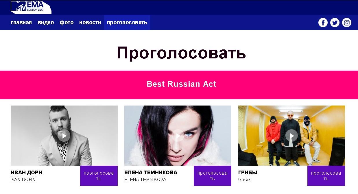 Дорн, Елка и Грибы номинированы на премию MTV от России