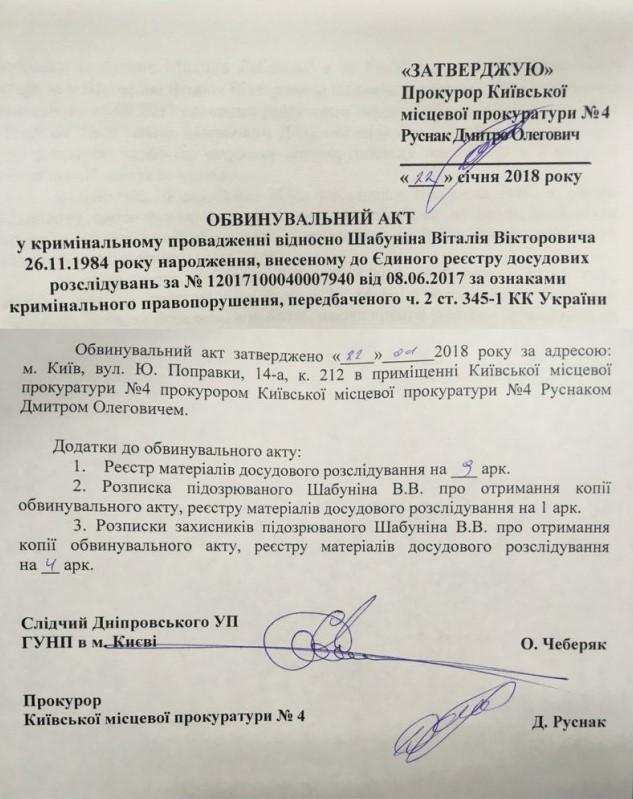 Обвинительный акт против Шабунина передают в суд - ЦПК