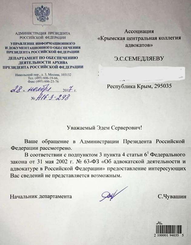 Кремль засекретил данные об освобождении Умерова: документ