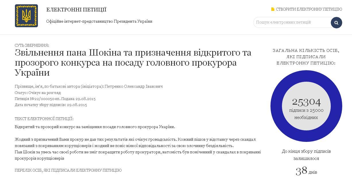 Петиция об увольнении Шокина набрала более 25 тысяч голосов