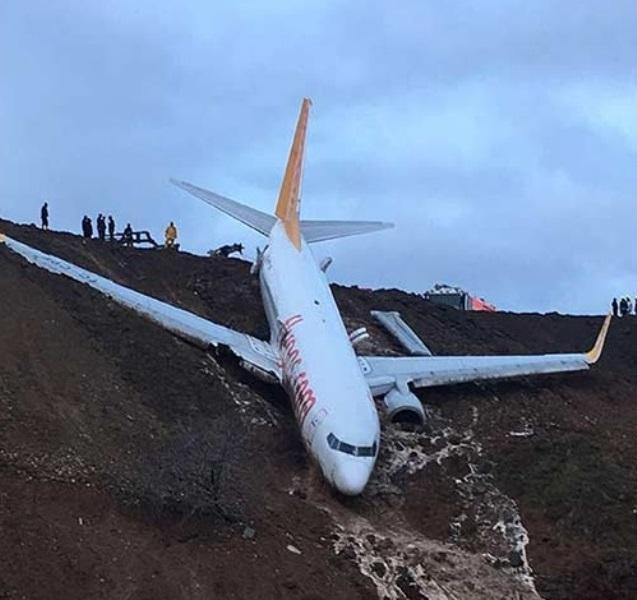В Турции пассажирский самолет выкатился за взлетную полосу: фото