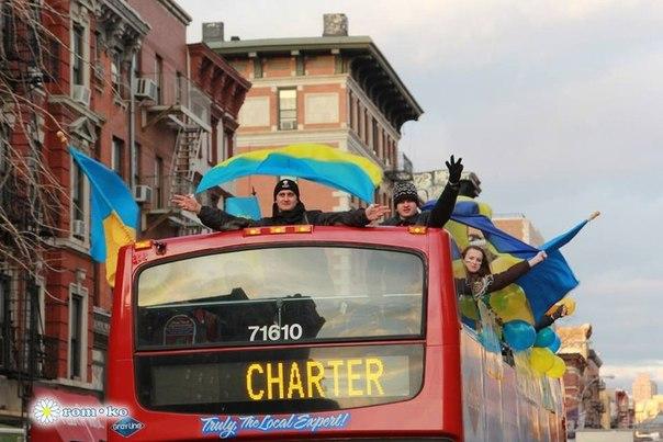 Украинцы в Нью-Йорке провели акцию в поддержку Евромайдана
