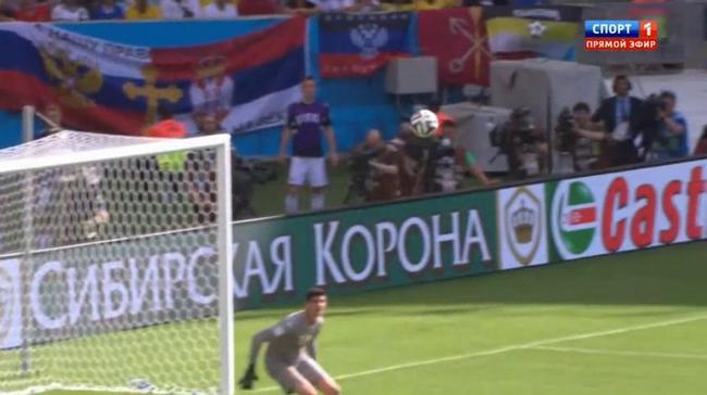 Российские болельщики вывесили флаг ДНР на матче Бельгия - Россия