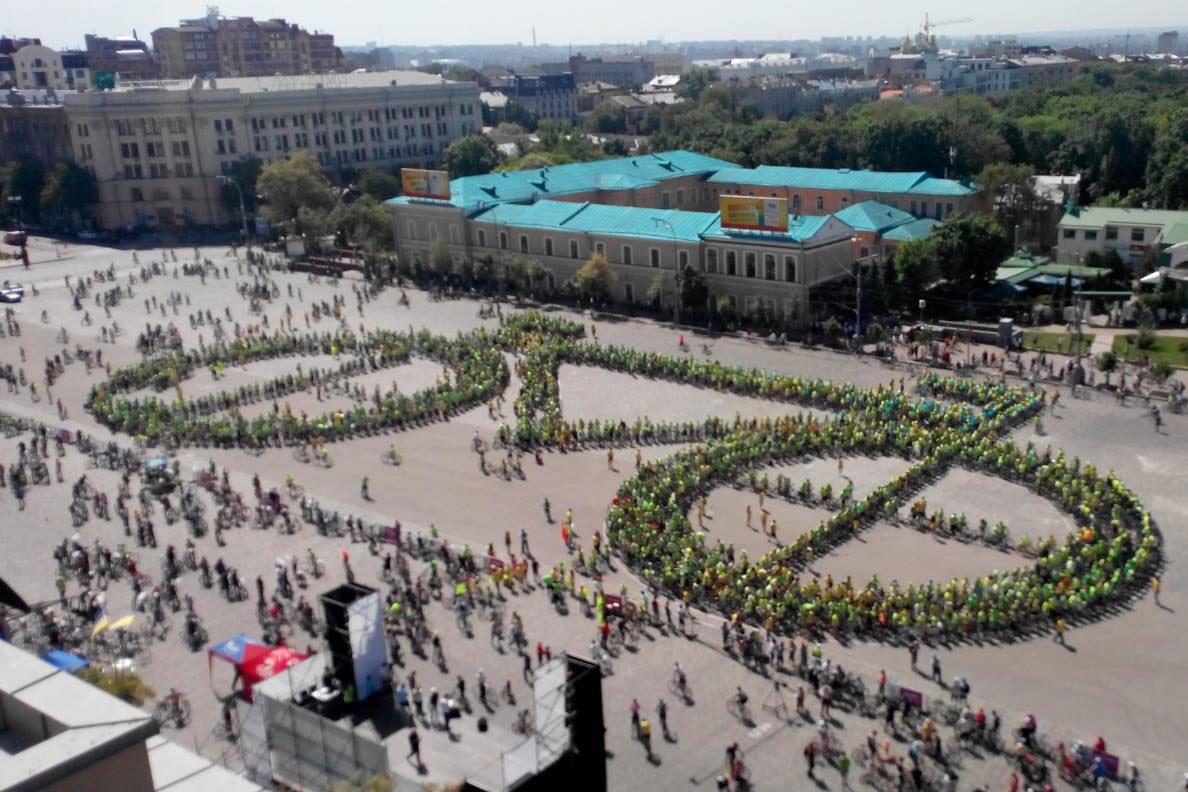 В Харькове более 3 тыс. велосипедистов установили рекорд Украины