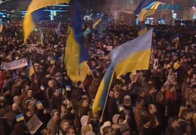 В Донецке тысячи людей вышли на площадь за единство Украины