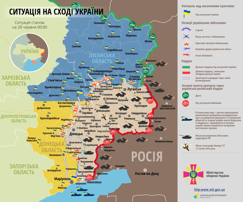 Карта АТО: огневые цели боевиков, оборона населенных пунктов