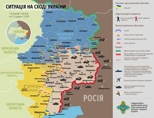 Карта АТО: направления огневых ударов, штурм Донецкого аэропорта