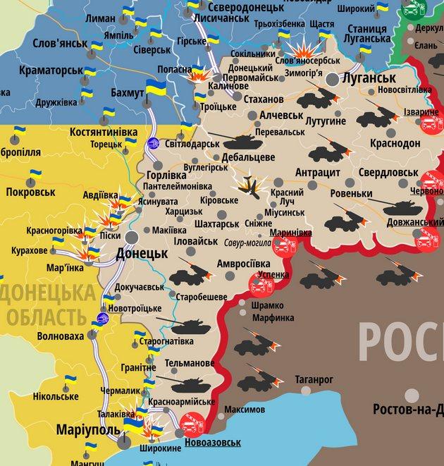 Карта АТО: в Донбассе за сутки ранения получили двое военных