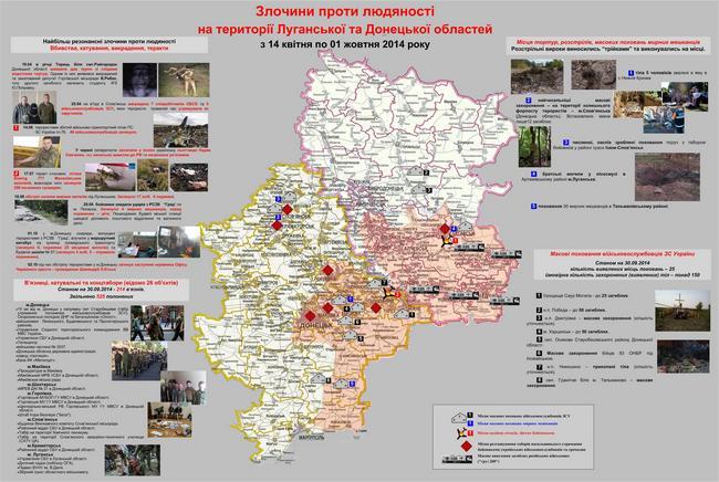 СБУ показала карту преступлений российских боевиков в Донбассе