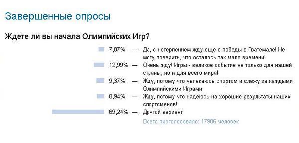 Опрос в России: Ждете ли вы Олимпиаду? Да, да, да, другой вариант