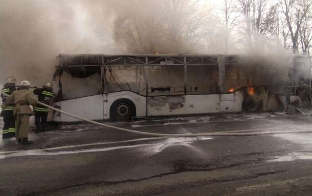 В Винницкой области во время движения загорелся автобус: фото