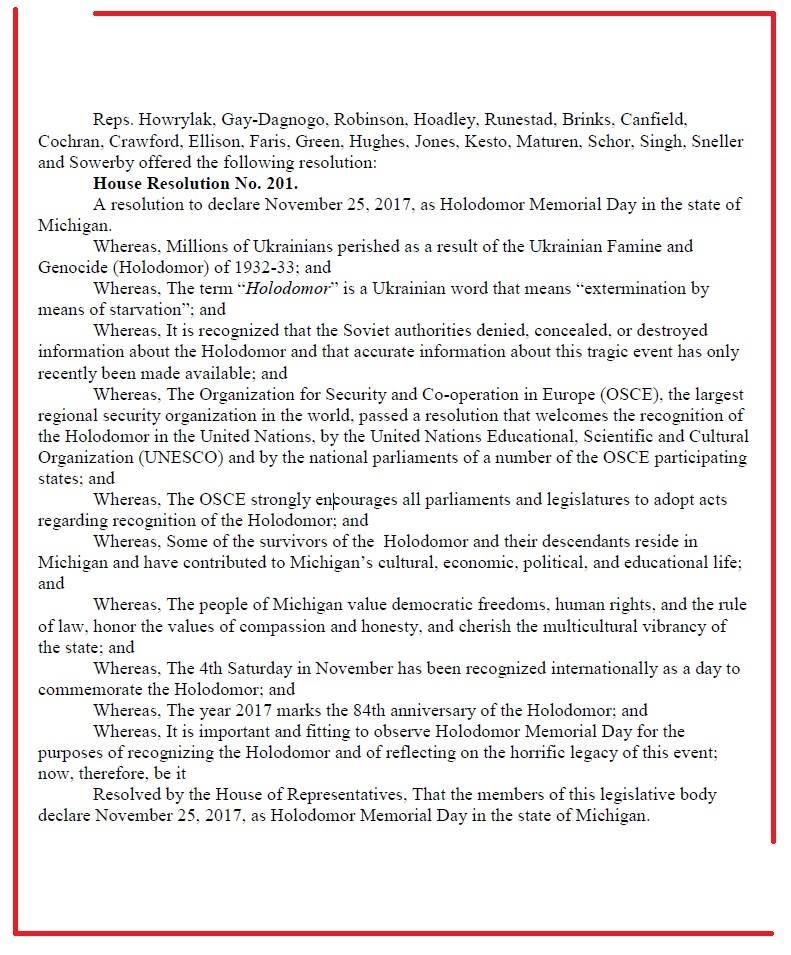 Второй за два дня штат США признал Голодомор в Украине геноцидом