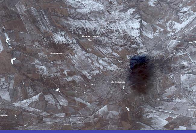 СНБО: масштабы обстрелов Дебальцево видны даже из космоса (фото)