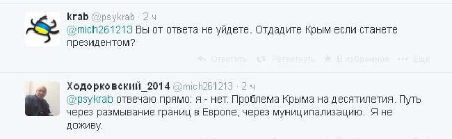 Ходорковский, как и Навальный, не вернул бы Крым Украине