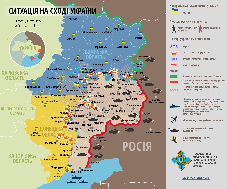 В Донбассе идут бои вдоль всей линии разграничения: карта АТО