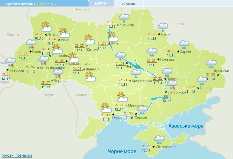 Погода в Украине на начало сентября: дожди с грозами и потепление