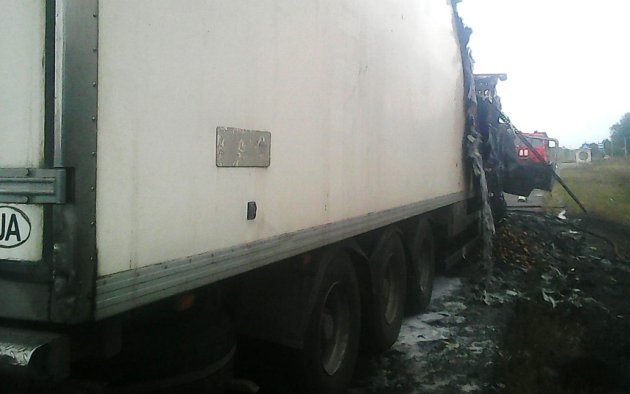 Грузовой автомобиль с20-ю тонами картофеля горел вПолтавской области
