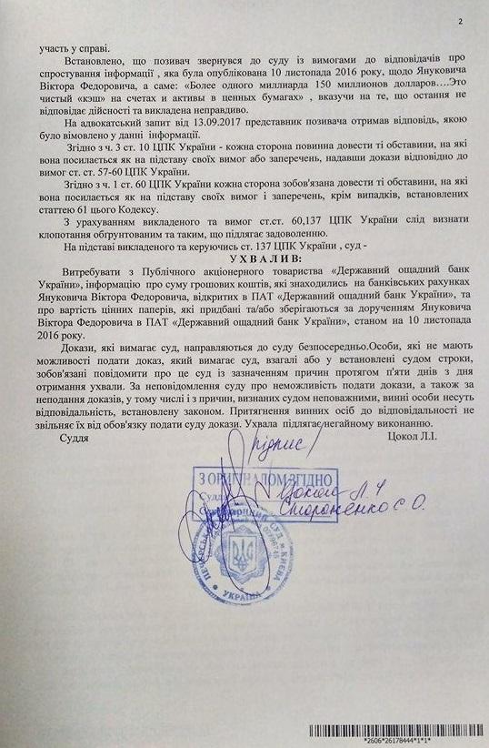 Ощадбанк обязали обнародовать сумму средств на счетах Януковича