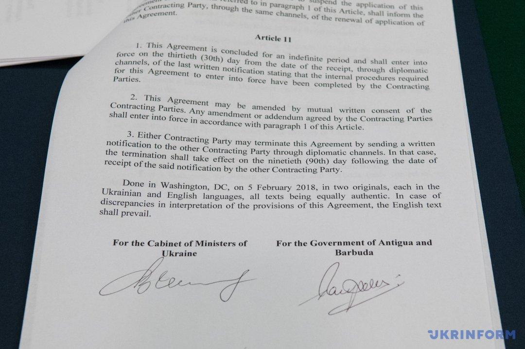 Украина подписала с Антигуа и Барбуда соглашение об отмене виз