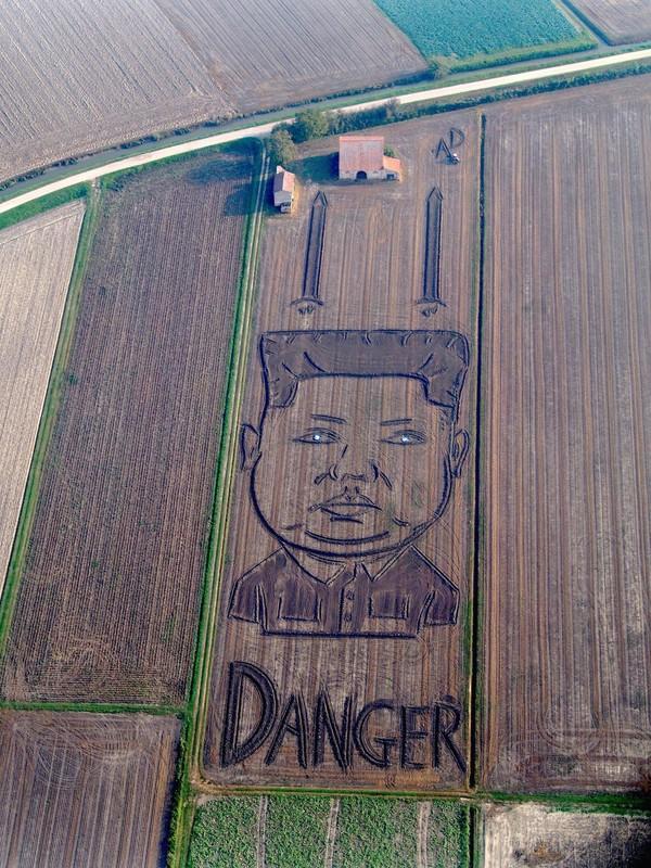 В Италии на поле нарисовали гигантский портрет Ким Чен Ына