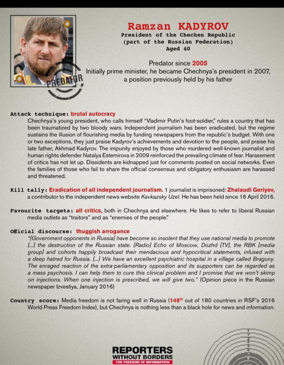 Репортеры без границ включили Путина в список врагов прессы