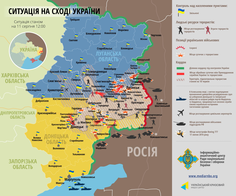Силы АТО продолжают наступление на террористов: карта боев