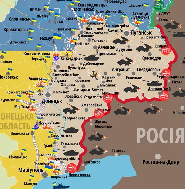 Карта АТО: за сутки в Донбассе погиб боец, один был ранен