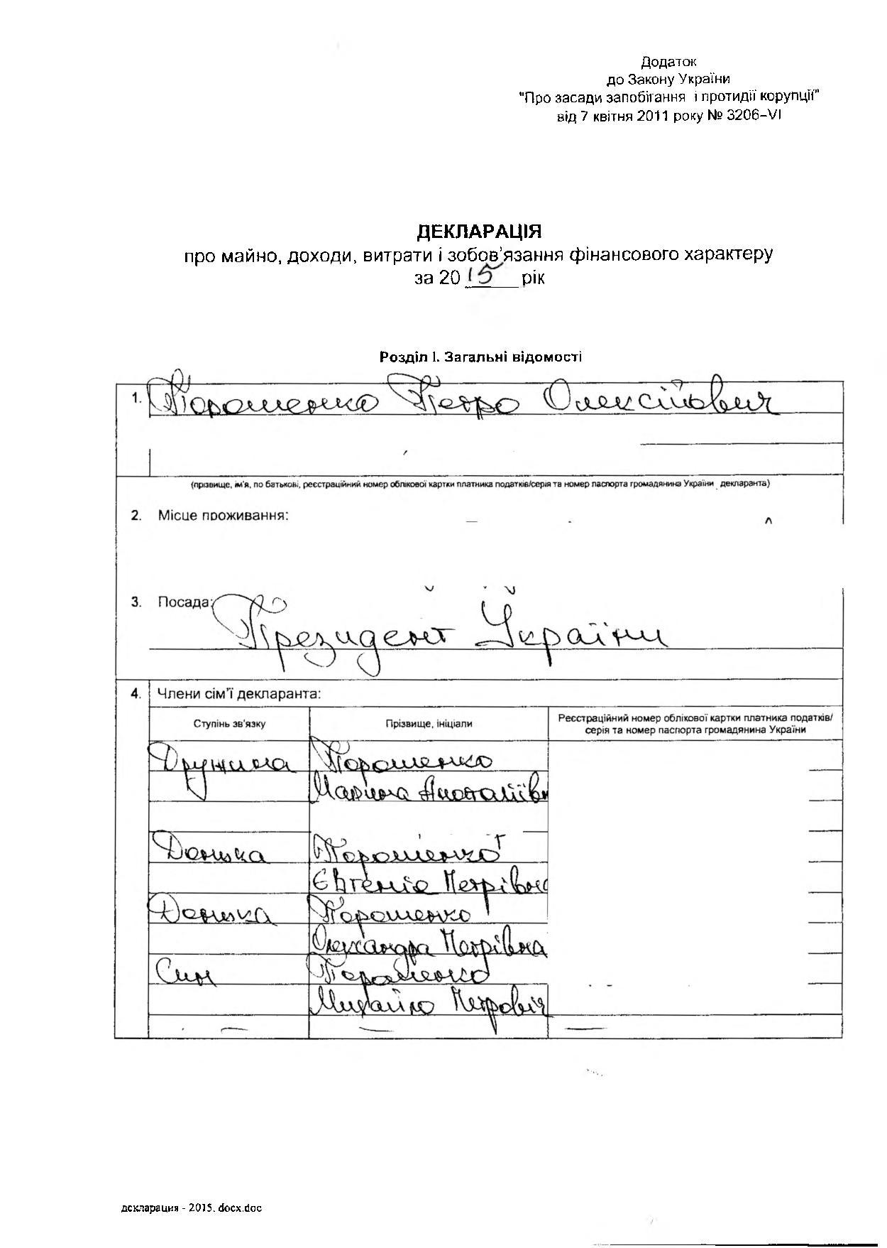 Декларация Порошенко: сколько заработал президент в 2015 году