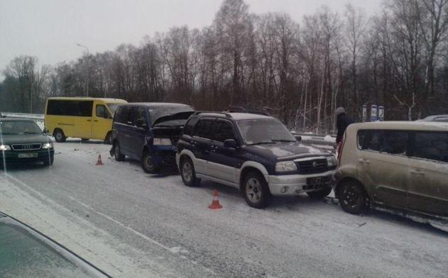 14 машин попали вДТП натрассе Киев— Чоп