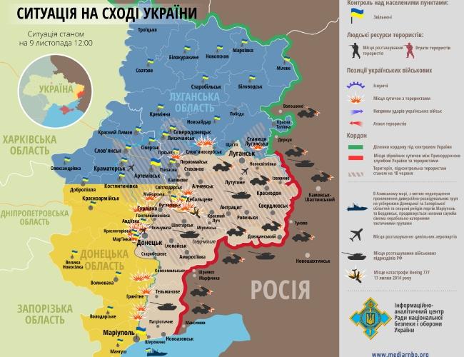 Обстрелы населенных пунктов и сил АТО, потери: карта