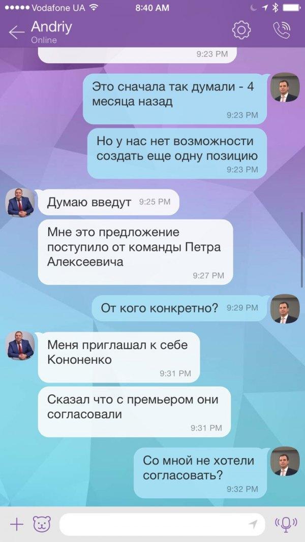 Лещенко опубликовал переписку Абромавичуса и Пасишника