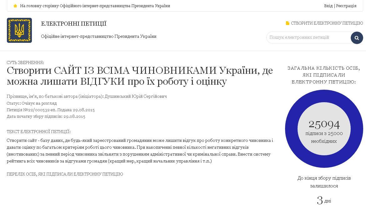 Банковая рассмотрит петицию о создании сайта с данными чиновников