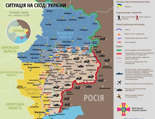 Карта АТО: атаки боевиков, огневые удары, очаги напряженности